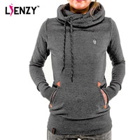 2015 Winter Women Sweatshirt Hoodies Fashion Solid Long Sleeve Pocket Pullovers Slim 2015 Brand Tracksuits Women Clothes