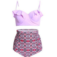 Upper purple Falbala bikini and bottom  pink print  high waist two piece bikini