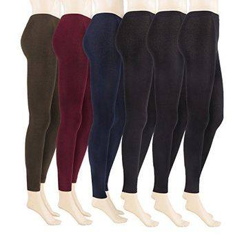 REDESS 6 Pairs Leggings for Women, Fleece Lined Winter Leggings, High Waist, Elastic and Slimming [Variety of Colors]