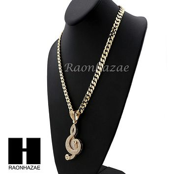 MENS G Clef MUSIC PENDANT & DIAMOND CUT CUBAN LINK CHAIN NECKLACE NN56
