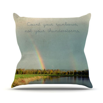 "Robin Dickinson ""Count Rainbows"" Nature Typography Throw Pillow"