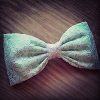 Mint White Lace fabric bow from Bowlicious Divas Bowtique