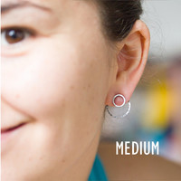 Double sided earrings - sterling silver modern studs
