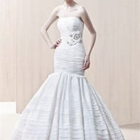 Ball gown satin sexy Strapless flower sweep train white 2012 spring Enzoani Wedding Dresses EWD039 -Shop offer 2012 wedding dresses,prom dresses,party dresses for girls on sale. #Category#