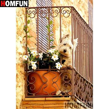 5D Diamond Painting Westie on the Balcony Kit
