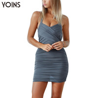 YOINS 2016 New Arrival Wrap Front Halter Mini Dress Fashion Women Bodycon Pleated Dress Sexy Clubwear Summer Camis Dresses