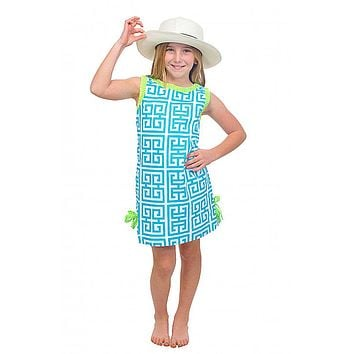 Girls Mandarin Cotton Dress in Turquoise/Lime by Gretchen Scott Designs