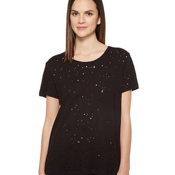 Michael Stars Ripped Textured Jersey Short Sleeve Crew Neck
