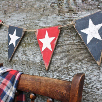 FREE SHIP Wood American Flag Banner Star Pennant 4th of July Patriotic Tags Signs