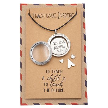 Brielle Teacher Locket Necklace with Teepee, Heart, Apple, and Arrow Charms With Greeting Card