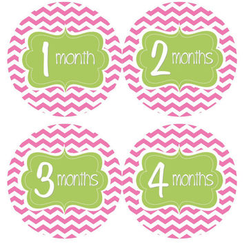 Monthly Onesuit Stickers Baby Month Stickers Baby Girl Hot Pink Chevron Green Stickers Month Onesuit Sticker Baby Shower Gift Photo Prop Alice