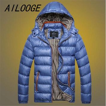AILOOGE 2017 New Men Winter Puffer jackets ultralight Jacket Coat,Parka Clothing Hood Chaqueta Hombre Invierno