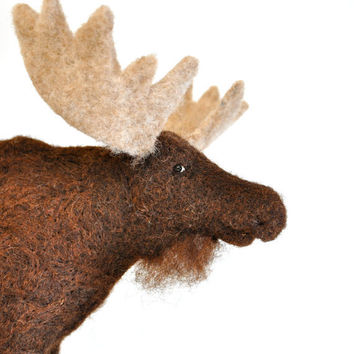 Needle Felted Bull Moose needle felted animal by BearCreekDesign