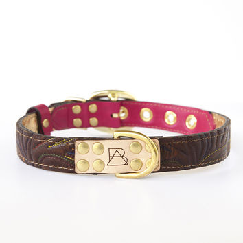 Hot Pink Dog Collar with Dark Brown Leather + Multicolor Stitching