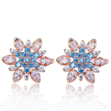 High Quality Snowflake Shape AAA+ Swiss CZ Crystal Silver Color Stud Earring for Wedding Romantic Jewelry