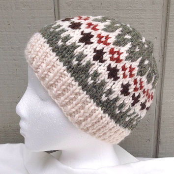 Fair Isle knitted hat - Womens accessories - Hand knit wool beanie - Teens hats