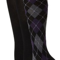 Nine West Women's Argyle Print and Solid Flat Knit 3 Pair Knee High Pack Socks