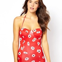Motel Exclusive To ASOS Daisy Red Peridot Retro Swimsuit