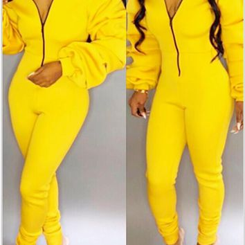 Long Sleeves V Neck Yellow One Piece Jumpsuit