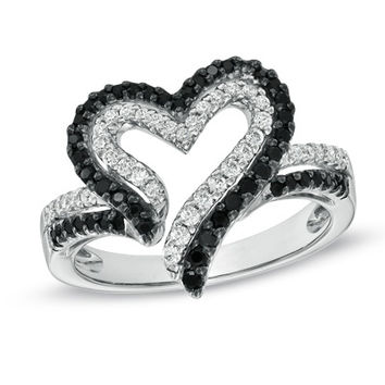1/2 CT. T.W. Enhanced Black and White Diamond Heart Ring in Sterling Silver
