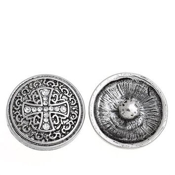 Chunk Snap Buttons Fit Chunk Bracelet Round Antique Silver Cross Pattern Carved Clear Rhinestone 20mm