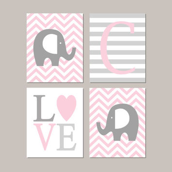 Elephant Nursery Decor Elephant Nursery Art Girl Nursery Decor Initial Love Pink Gray Nursery Set of 4 Prints Or Canvas Elephant Theme