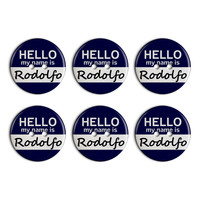 Rodolfo Hello My Name Is Plastic Resin Button Set of 6
