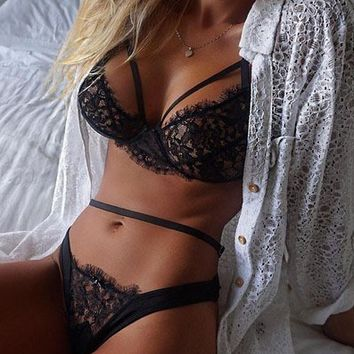 Black Lace Bra Lingerie  Set B007583