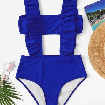 Bandeau Top With Ruffle Suspender Two Piece Swim