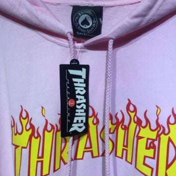 Thrasher Men Fashion Casual Letter Print Long Sleeve Hoodie Sweater Pink