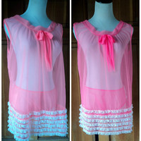 Vintage 60s Babydoll Nightie Neon Hot Pink Sheer Nighty Baby Doll Short Nightgown Lace Ruffle Panties Lingerie Large