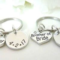 Brother of the Bride Gift Brother of the Groom Gift Handstamped keychain Personalized Brother Gift