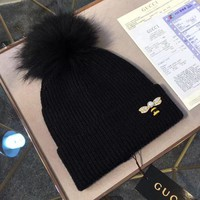 VONEY6G GUCCI Fashion Bee Embroidery Beanies Knit Winter Hat Cap3
