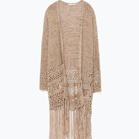 Long Fringe Tassel Warm Knit High Quality Extra Long Cardigan Sweater
