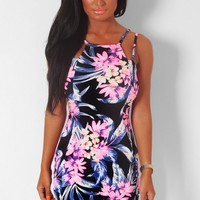 Alice Black Multi Floral Wrap Front Mini Dress | Pink Boutique