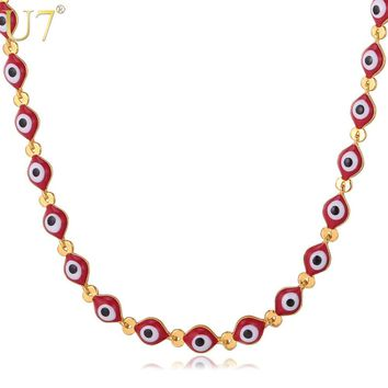 U7 Eyes Chain Necklace Gold/Silver Color Fashion Jewelry Red Beads Necklace Turkish Jewelry For Men/Women Gift N425
