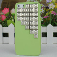 Light Green Hard Case Cover With Silvery Stud for Apple iPhone5 Case, iPhone 5 Cover,iPhone 5 Case, iPhone 5g