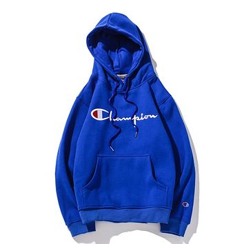 Champion tide brand couple thick casual sports hooded sweater Blue