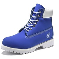 Best Deal Online Timberland 10061 Leather Lace-Up Boot Men Women Shoes Blue White