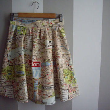 London Map Printed High Waisted Cotton Skirt