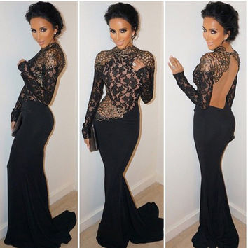 Lace Backless Mesh Stitching Bodycon Long Dress