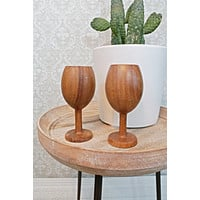 Vintage Wood  Wine Goblet Set