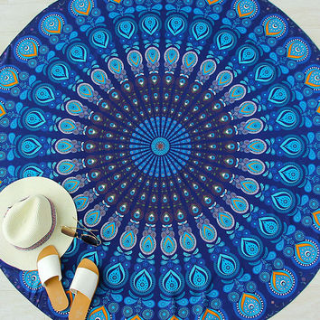 Blue Printed Vintage Round Beach Blanket