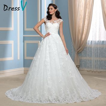 Luxury Lace Wedding Dresses High Quality Real Image Scoop Court Train Robe De Mariage 2017 Newest  Wedding Dresses Bridal Gowns