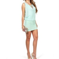 Pre-Order: Mint Crochet/Chiffon Dress