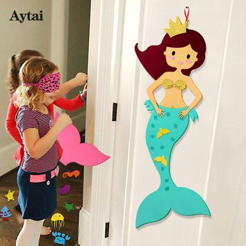 Aytai Felt DIY Craft Mermaid Themed Birthday Party Supplies Handmade DIY Birthday Gift Toy for Kids Mermaid Party Decorations