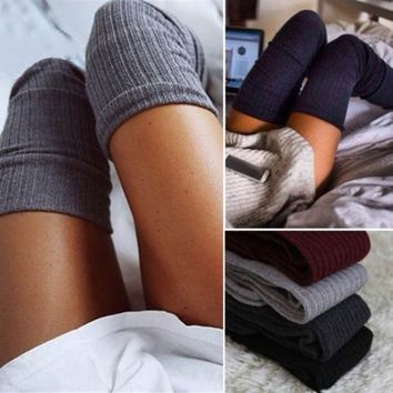 Women Fashion Long Sock Thigh High Over Knee Slouchy Knitted Crochet Stockings