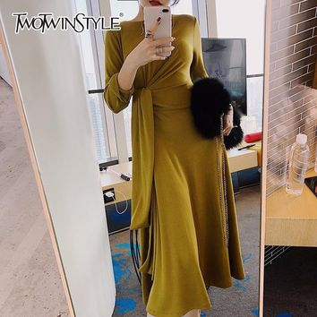 TWOTWINSTYLE Lace Up Dress Womens High Waist O Neck Long Sleeve Draped Ankle Length Dresses Spring Female Fashion Korean Clothes