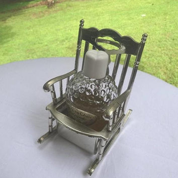 1950s or Earlier Vintage Lander Rocking Chair Cologne, Bubble Embossed Bottle, 1/2 Full Content, Made in USA, Vintage Vanity, Home Decor