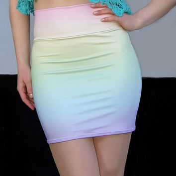 Pre-Order for Pastel Rainbow Ombre High Waisted Bodycon Skirt